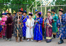 Mongolian archers at competition Royalty Free Stock Image