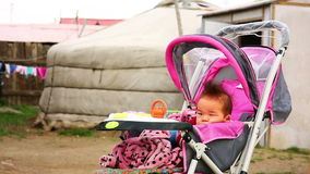 Mongolian Baby at Suburbs Royalty Free Stock Images