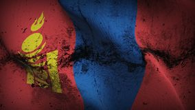 Mongolia grunge dirty flag waving on wind. Mongolian background fullscreen grease flag blowing on wind. Realistic filth fabric texture on windy day Royalty Free Stock Image