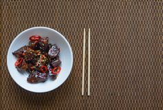 Mongolian Beef. Crispy beef in sticky sauce. stock photography