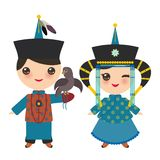 Mongolian boy and girl in blue national costume and hat. Cartoon children in traditional dress. Hunter, hunting with an eagle. Vector illustration vector illustration