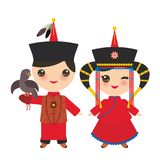 Mongolian boy and girl in red national costume and hat. Cartoon children in traditional dress. Hunter, hunting with an eagle. Vect Royalty Free Stock Photo