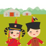 Mongolian boy and girl in red national costume and hat. Cartoon children in traditional dress. Landscape steppe, mountains, sky, h Royalty Free Stock Photography