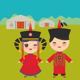 Mongolian boy and girl in red national costume and hat. Cartoon children in traditional dress. Landscape steppe, mountains, sky, h Royalty Free Stock Image