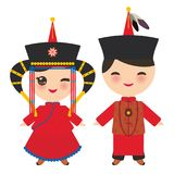 Mongolian boy and girl in red national costume and hat. Cartoon children in traditional dress. Vector stock illustration