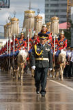 Mongolian Cavalry in traditional uniform 1 Stock Images