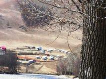 Mongolian countryside and yurts Royalty Free Stock Photo