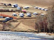 Mongolian countryside and yurts Stock Image