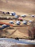 Mongolian countryside and yurts Stock Photography