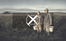 Mongolian Couple Farmers Holding Basin Posing Field Concept Royalty Free Stock Image