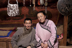 Mongolian couple in Ger Royalty Free Stock Images