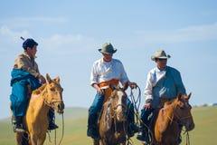 Mongolian Cowboys Horseback Traditional Clothes Royalty Free Stock Images