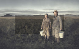 Mongolian Farmers Working Hard Agricultural Crop Concept Stock Images