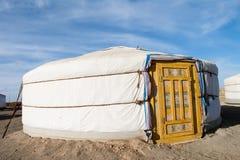 Mongolian ger. Wide angle view of Mongolian gur in Gobi desert Stock Photo