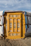 Mongolian ger. Front door of Mongolian ger in Gobi desert Royalty Free Stock Photo