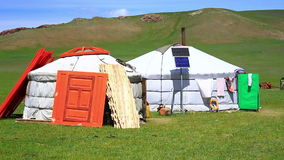 Mongolian ger camps with solar power. And TV satellite, Central Mongolia stock video footage
