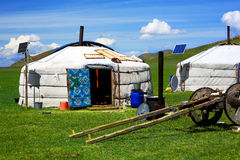 Mongolian ger camps with solar power Stock Photography