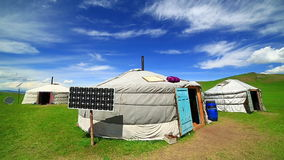 Mongolian ger camps with solar power. TV satellite and oxcart, Central Mongolia. Great contrast, modern and traditional lifestyle melting each other stock footage