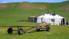 Mongolian ger camps with solar power. TV satellite and oxcart, Central Mongolia. Great contrast, modern and traditional lifestyle melting each other stock video footage