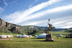 A Mongolian ger in a field Royalty Free Stock Photography