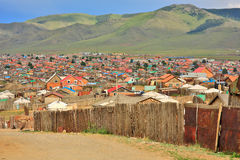 Mongolian Ger at Ulaanbaatar Suburbs. Poor households in outskirts of Ulaanbaatar, Mongolia Royalty Free Stock Image
