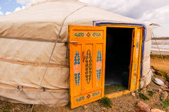Mongolian ger (yurt) exterior. Ger (or yurt), traditional nomadic homes for Mongolians on the steppe Royalty Free Stock Images