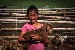 Mongolian Girl With Goat. A nomadic mongolian girl with a little baby goat Royalty Free Stock Photography