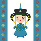 Mongolian girl in national costume and hat. Cartoon children in traditional dress on white background. Card banner template, blue. Mongolian ornament. Vector stock illustration