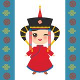 Mongolian girl in national costume and hat. Cartoon children in traditional dress on white background. Card banner template, blue. Mongolian ornament. Vector royalty free illustration