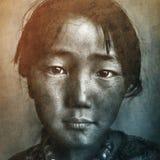 Mongolian Girl Portrait Drawimg Retro Concept Stock Photography