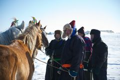 Mongolian grooms Royalty Free Stock Photography