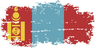 Mongolian grunge flag. Vector illustration. Stock Photography