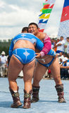 Mongolian heavy weight wrestlers Royalty Free Stock Image