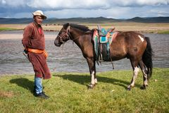 Mongolian herder Stock Photo