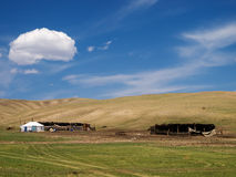 Mongolian herdsmen camp in the steppe Stock Images