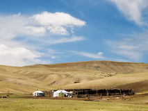Mongolian herdsmen camp in the steppe Stock Photo