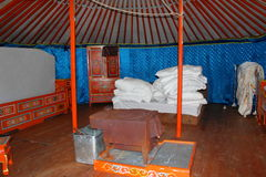 Mongolian home - interior of yurt Stock Photography