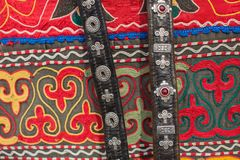 Mongolian horse harness and handicrafts selling on the market. Royalty Free Stock Photography