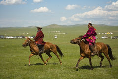 Mongolian Horse racers Stock Images