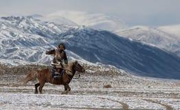 Mongolian horse rider in the mountains during the golden eagle festival Stock Photos