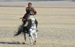 Mongolian horse rider Royalty Free Stock Images