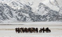 Mongolian horse riders in the mountains during the golden eagle festival. Mongolian horse riders dash between the snowy mountains in the winter of mongolia Royalty Free Stock Image