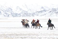 Mongolian horse riders in the mountains during the golden eagle festival. Mongolian horse riders dash between the snowy mountains in the winter of mongolia Royalty Free Stock Photography