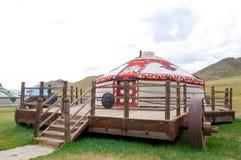 Mongolian jurt on traveling platform Royalty Free Stock Image