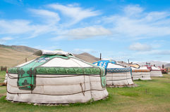 Mongolian jurts camp Royalty Free Stock Photography