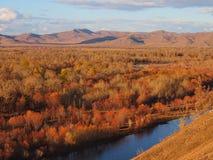Mongolian Landscape in Autumn stock photo