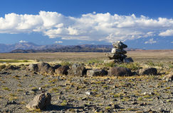 Mongolian landscape with cairn Royalty Free Stock Photos