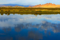 Mongolian landscape with lake and mountains Stock Image