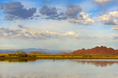 Mongolian landscape with lake and mountains Royalty Free Stock Images