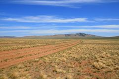 Mongolian Landscape with nomad road Royalty Free Stock Photo